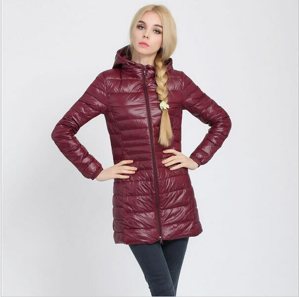 Fitaylor Autumn Winter Women Ultra Light Duck Down Coat Hooded Jackets Slim Medium Long Plus Size Parkas Thickness Overcoat 6