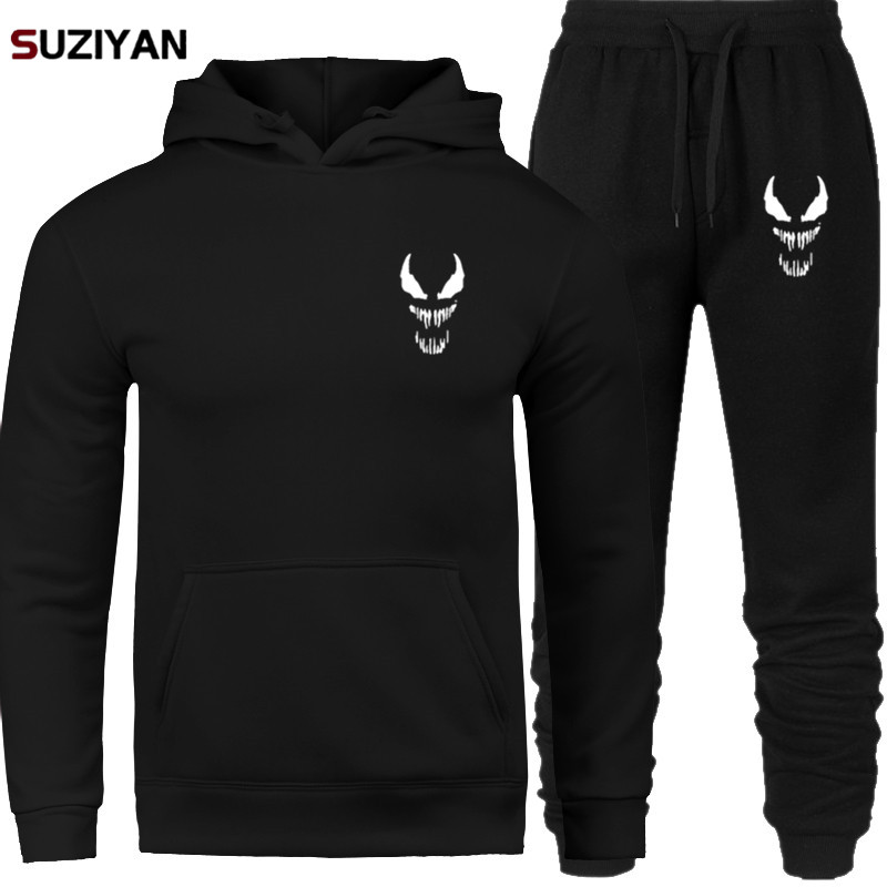 Comic Thick Venom Hoodie Sweatshirts Men Superhero Anime Cool Black Autumn Winter Tops Plus Velvet Warm Hoody Sets Men's Women's