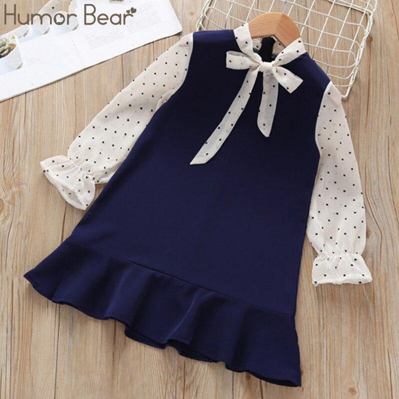Humor Bear Girls Dresses Spring Autumn Kids Clothes Girls Stitching Princess Dress Children Clothing Fake 2PCS  Birthday Dress 2