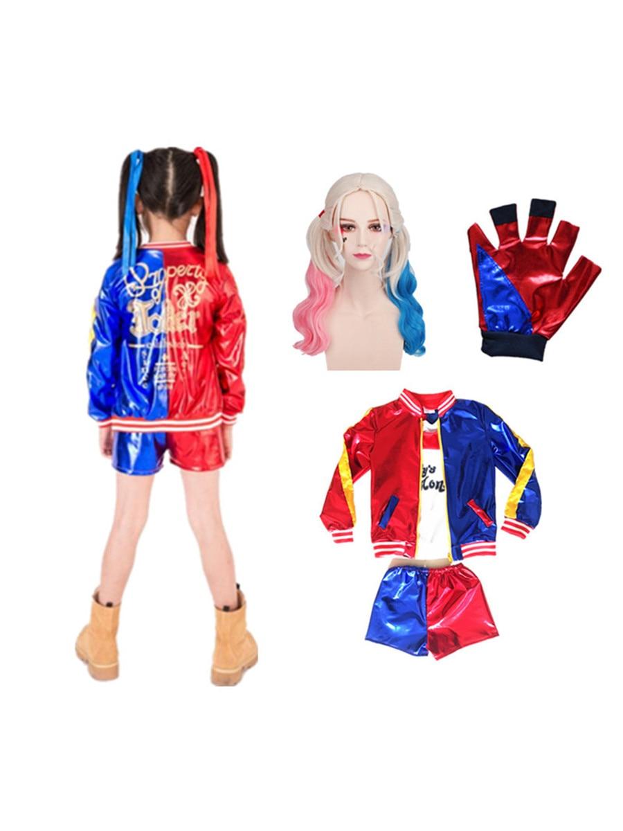 Cosplay Kids Costume Jacket JOKER Suicide Squad Harley Quinn Halloween Adult Women Girls