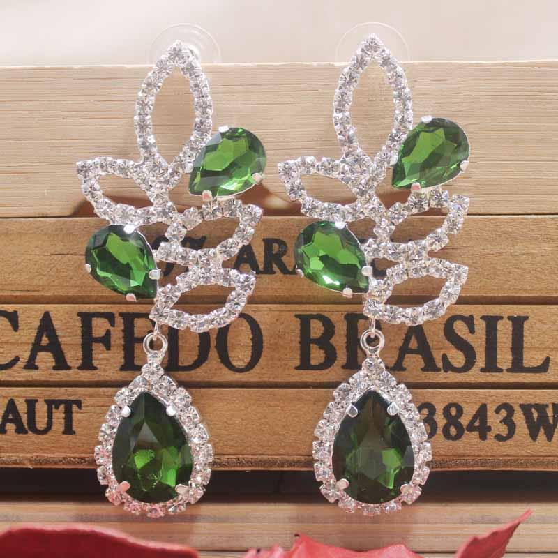 1pcs Rhinestone green wedding party earring silver shiny women rose gold champagne Zerong new rhinestone