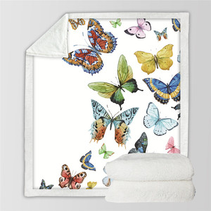 Image 2 - Butterfly Insect Print Sherpa Blanket Couch Sofa Travel Youth Bedding Fleece Thick Blanket Bedspread Home Decoration Tapestry