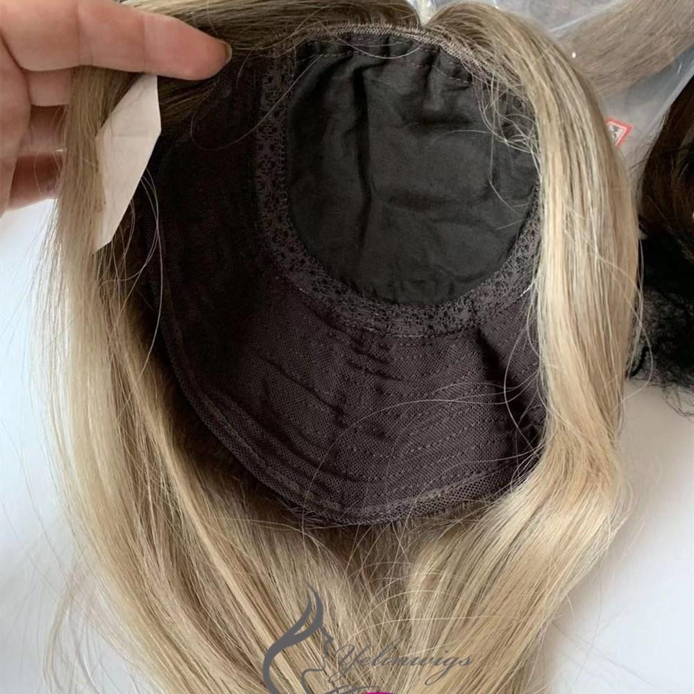European Hair Jewish Topper Hair Pieces High Quality European Hair Kippah Fall Kosher Hair Pieces