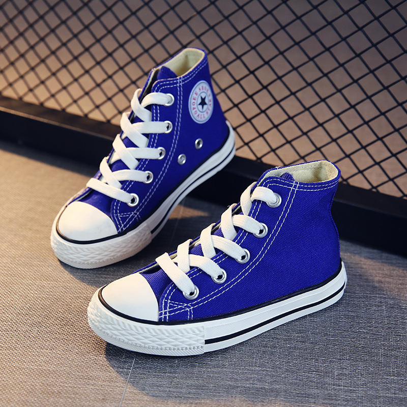 Shoes For Boys Girl Children Casual Sneakers Baby High-top Candy Color Student Canvas Shoes For 1-12 Years Shoes Kids Hot C07263