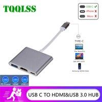 TQQLSS USB C HDMI Type c Hdmi mac 3.1 Converter Adapter Typec to HDMI/USB 3.0/Type-C Aluminum For Apple Macbook adapter USBC HUB