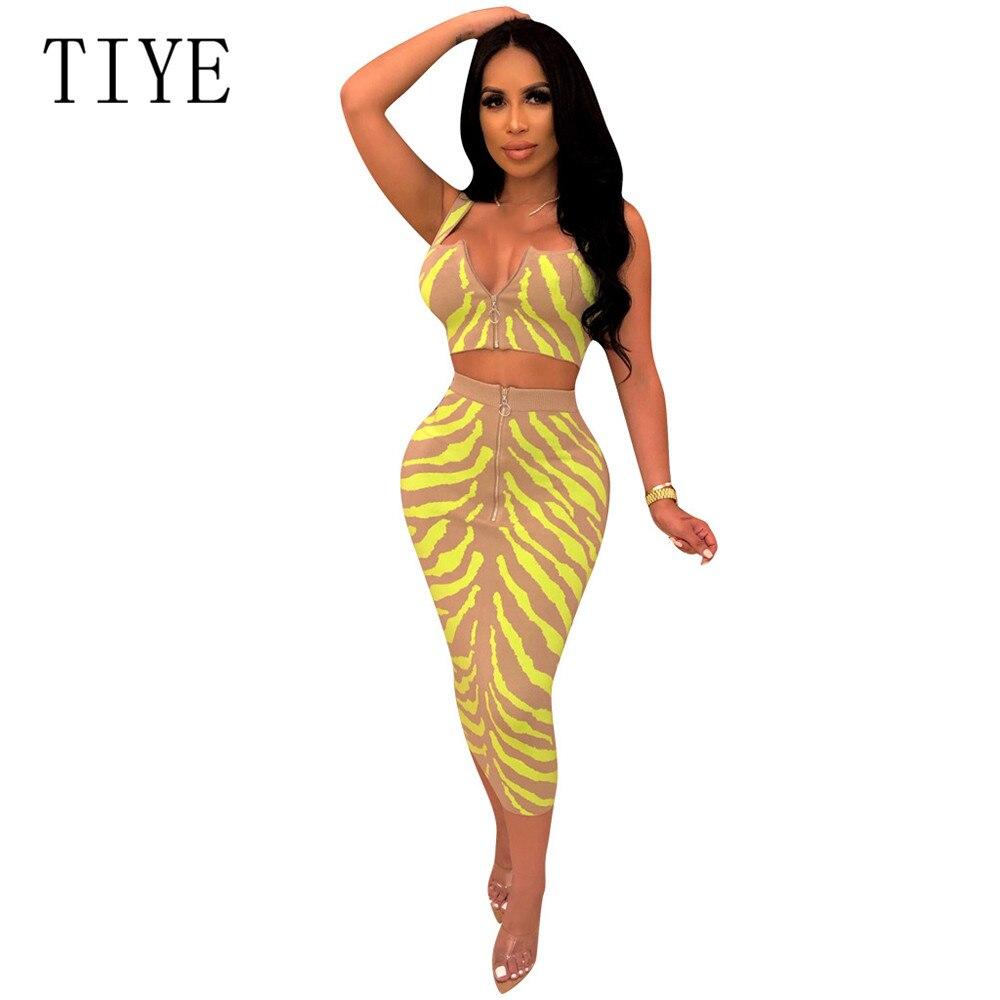 TIYE Zipper Women Two Piece Dress Summer High Waisted Striped Print Bodycon Spaghetti Strap Casual Holiday Dresses