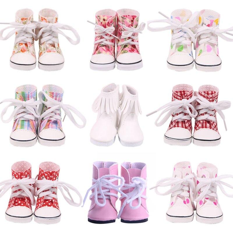 Boneca botas de alta-superior sapatos de lona para 14.5 Polegada nancy boneca americana & bjd exo boneca & 32-34cm paola reina boneca rússia diy menina brinquedo