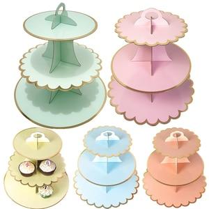 Image 2 - 3 Tier stojak na babeczki papieru stałe paski Cupcake obwolut dekoracje na ślub urodziny przyjęcie świąteczne deser tabela dostaw
