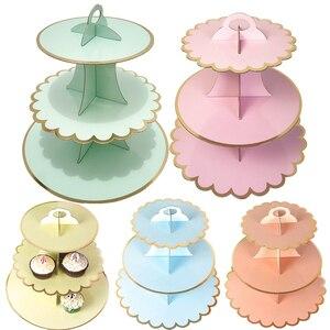 Image 2 - 3 層のカップケーキスタンド紙固体ストライプのカップケーキラッパー装飾結婚式誕生日ホリデーパーティーデザートテーブル用品