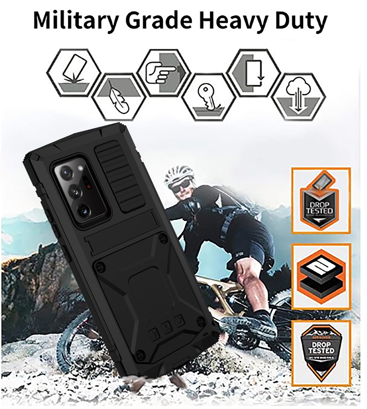 With Bracket+Full Protective For Samsung S21 Plus Ultra A52 A72 Note 20 Ultra 5G Case Kickstand Dual Layer Protective Shockproof 4