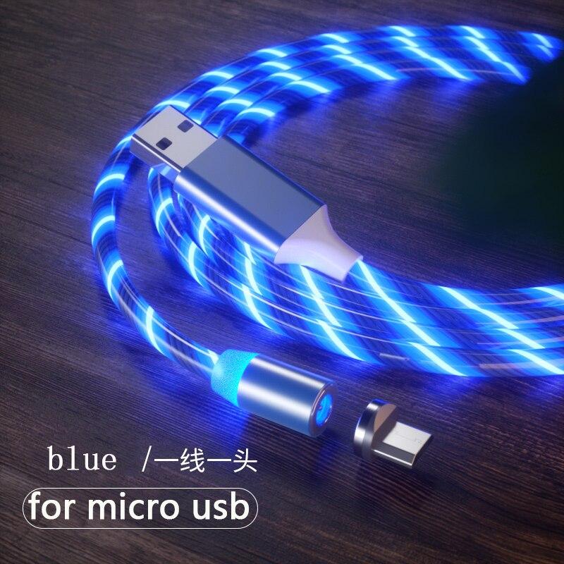 1 м Магнитный зарядный кабель для мобильного телефона, usb type C, светящийся провод для передачи данных для iphone Samaung huawei, светодиодный Micro Kable - Цвет: blue for micro usb