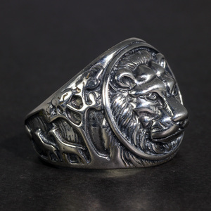 Image 1 - מוצק 925 כסף סטרלינג Mens האריה טבעת בציר Steampunk רטרו Biker טבעות לגברים עצי Deers חקוק זכר תכשיטים