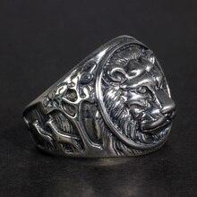 Sólido 925 prata esterlina anel de leão dos homens do vintage steampunk retro biker anéis para homem árvores deers gravado jóias masculinas