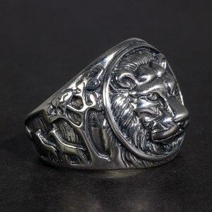 Image 1 - Solid 925 Sterling Silver Mens LionแหวนVintage Steampunk Retro Bikerแหวนผู้ชายต้นไม้กวางแกะสลักเครื่องประดับชาย
