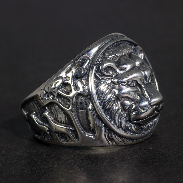 Solid 925 Sterling Silver Mens LionแหวนVintage Steampunk Retro Bikerแหวนผู้ชายต้นไม้กวางแกะสลักเครื่องประดับชาย