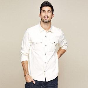 Image 2 - KUEGOU 2019 automne 100% coton épais blanc chemise hommes robe bouton décontracté mince coupe à manches longues pour homme marque de mode Blouse 0224