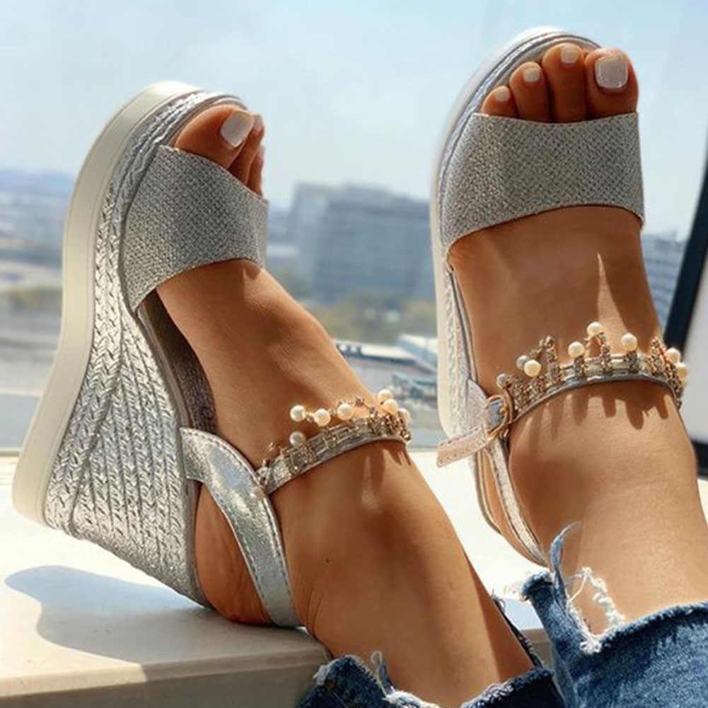 SARAIRIS Giày Cao Gót Giải Trí Nền Tảng Thời Trang Chuỗi Mùa Hè Giày Sandal Nữ Giày Đế Xuồng Nữ