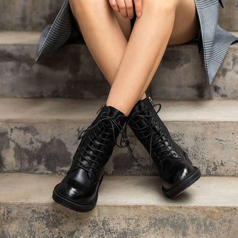 BeauToday motosiklet botları kadın hakiki inek deri çapraz bağlı slayt Zip yuvarlak ayak bayan yarım çizmeler kış ayakkabı el yapımı 02219