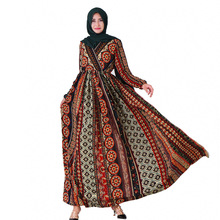 Женское мусульманское платье с цветочным принтом из полиэстера с v-образным вырезом и длинными рукавами; женские юбки до щиколотки