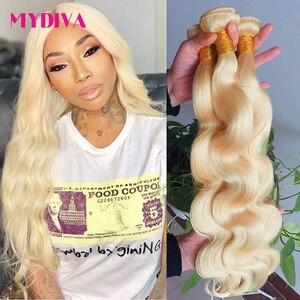 Mydiva 1/3/4 613 blond wiązki brazylijski włosy wyplata ciało fala wiązki 100% Remy ludzki włos wiązki 613 przedłużania włosów 8-30 cali