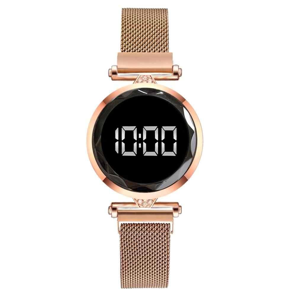 Luxus LED Frauen Magnetische Armband Uhren Rose Gold Digitale Kleid Uhr Quarz Armbanduhr Damen Uhr relogio feminino