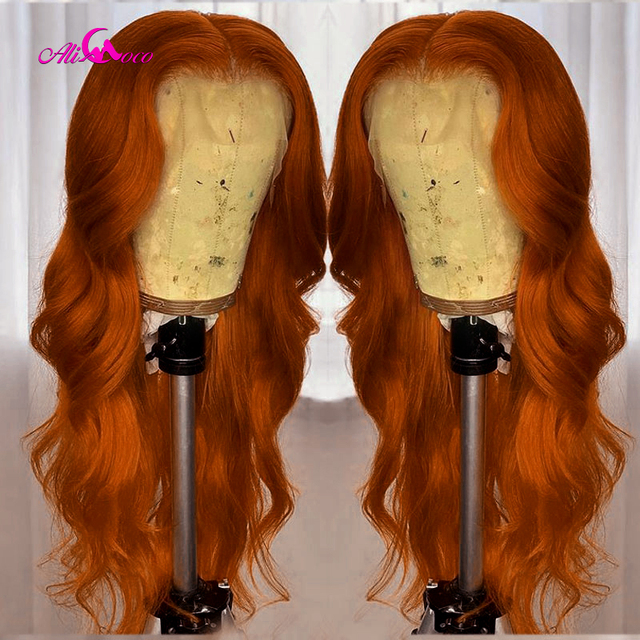 $ US $53.83 Ali Coco 13x4 Brazilian Body Wave Human Hair Wigs 28 30 inch 150% Orange Ginger Color Remy Long Lace Front Human Wig Pre Plucked