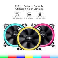 ir led Aigo New Computer Case PC Cooling Fan 120mm RGB Light Adjust LED Fan Quiet + IR Remote Computer CPU Cooler Cooling RGB Case Fan (5)