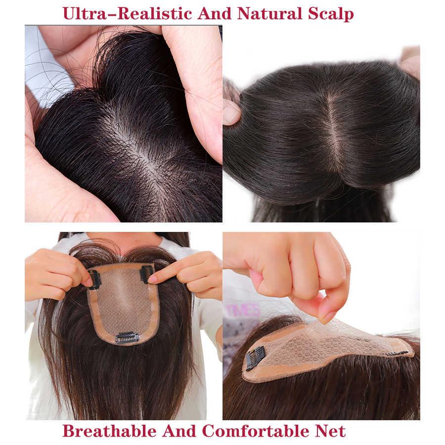 Peluca de pelo humano para mujer, Base de seda recta intermedia con Clips en el pelo, peluca Remy