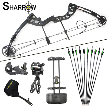 1set 30-55lbs Archery Compound Bow and Arrow Set Length 38Inch Metal Alloy IBO 310FPS Outdoor Shooting Hunting Accessories 1