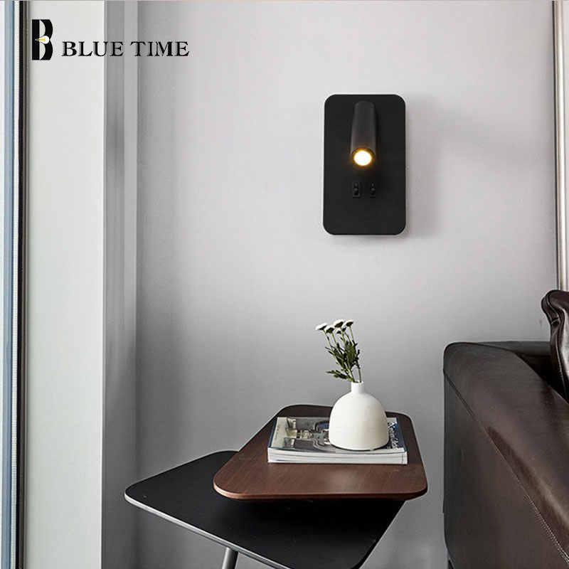 Moderna lámpara de pared LED con interruptor de Control 8W lámpara de luz de pared para el hogar dormitorio habitación luz de noche pasillo blanco y negro