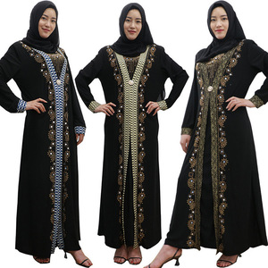 Image 2 - Dubai árabe islam abaya muçulmano vestido longo lantejoulas miçangas kaftan robes elegante splice maxi vestidos roupas islâmicas caftan