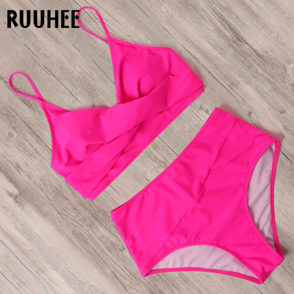 RUUHEE High Waist Bikini 2020 Women Leopard Solid Rose Black Bathing Suit Swimsuit Female With Pad Push Up Swimwear Women
