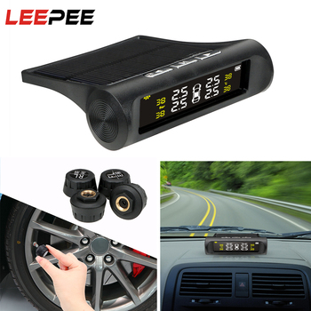 LEEPEE Solar Power Car TPMS Tyre Pressure Monitoring System Auto Security Alarm Systems Digital LCD Display Tyre Pressure Sensor