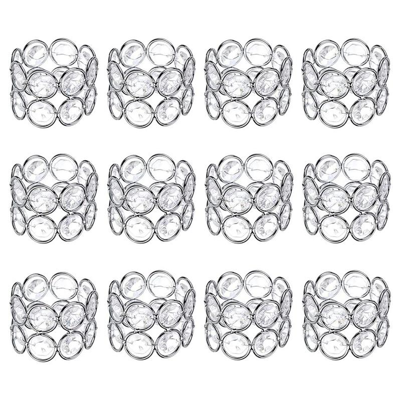 12 Pcs Crystal Beaded Napkin Ring Handmade Shiny Elegant Napkin Holders For Wedding Party Dinner Table Decoration