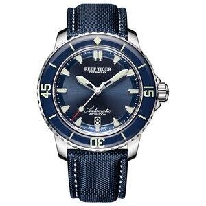 Image 1 - Neue 2020 Riff Tiger/RT Super Leucht Dive Uhren Herren Blau Zifferblatt Analog Automatische Uhren Nylon Strap reloj hombre RGA3035