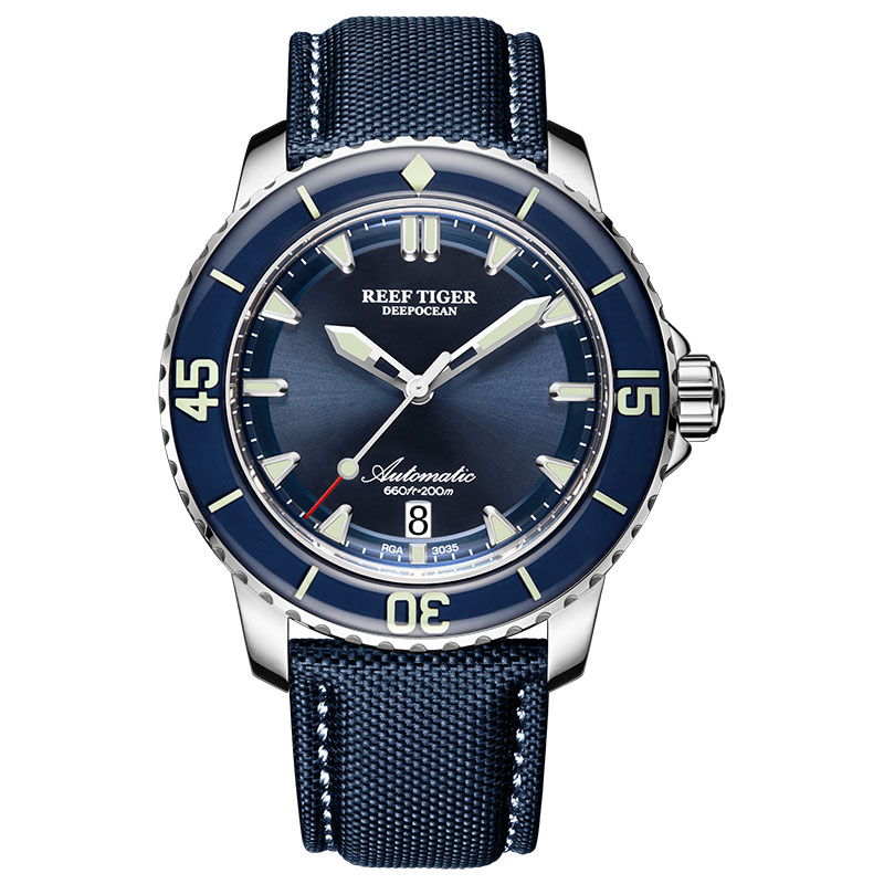 New 2020 Reef Tiger/RT Super Luminous Dive Watches Mens Blue Dial Analog Automatic Watches Nylon Strap Reloj Hombre RGA3035