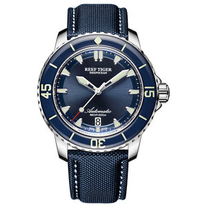 Image 1 - New 2020 Reef Tiger/RT Super Luminous Dive Watches Mens Blue Dial Analog Automatic Watches Nylon Strap reloj hombre RGA3035