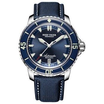 цена New 2020 Reef Tiger/RT Super Luminous Dive Watches Mens Blue Dial Analog Automatic Watches Nylon Strap reloj hombre RGA3035 онлайн в 2017 году