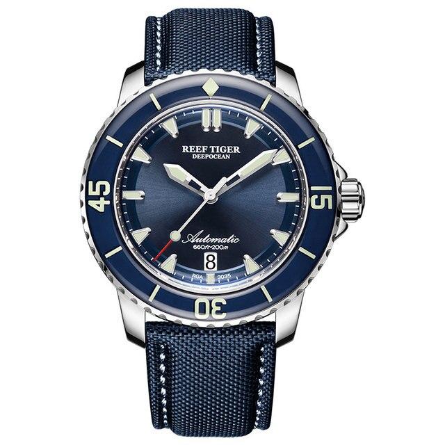 New 2020 Reef Tiger/RT Super Luminous Dive Watches Mens Blue Dial Analog Automatic Watches Nylon Strap reloj hombre RGA3035