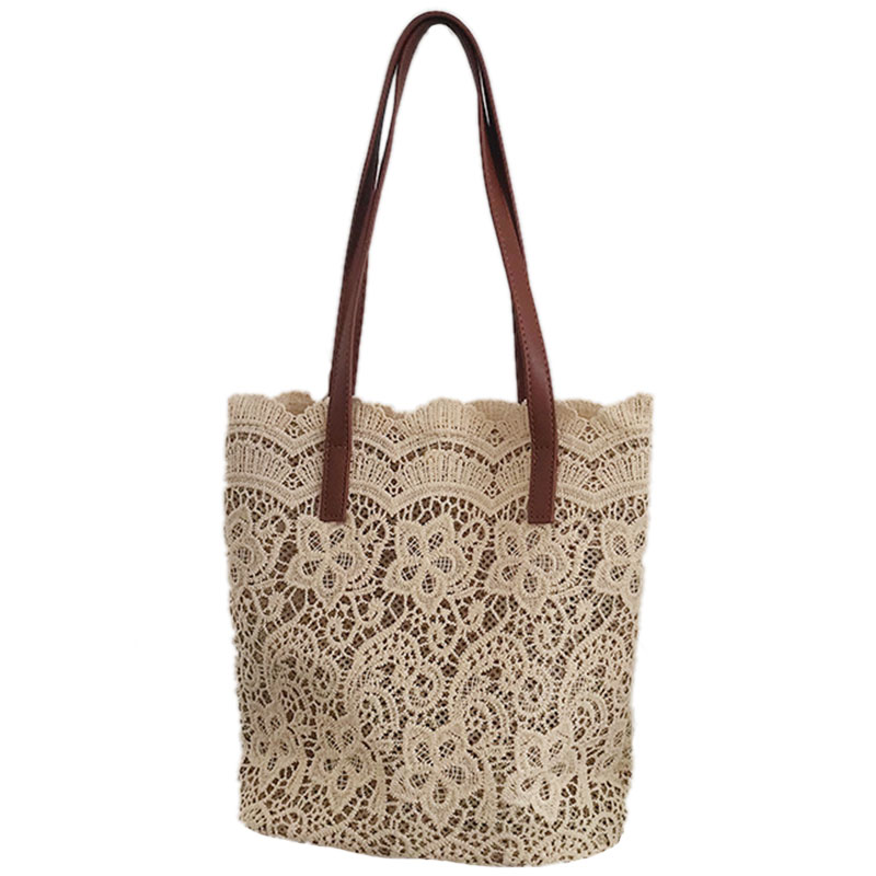 Fashion Women Shoulder Bag Big Lace Female Handbag Lady Floral Tote Luxury Women Shopping Bag Ladies Totes(Champagne)