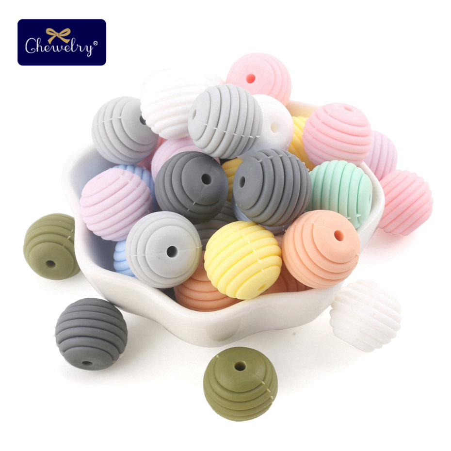 10pcs 15mm Silicone Round Spiral Beads Food Grade Teethers Baby Nursing Pacifier Chain Tiny Rod Diy Stroller Accessories Baby
