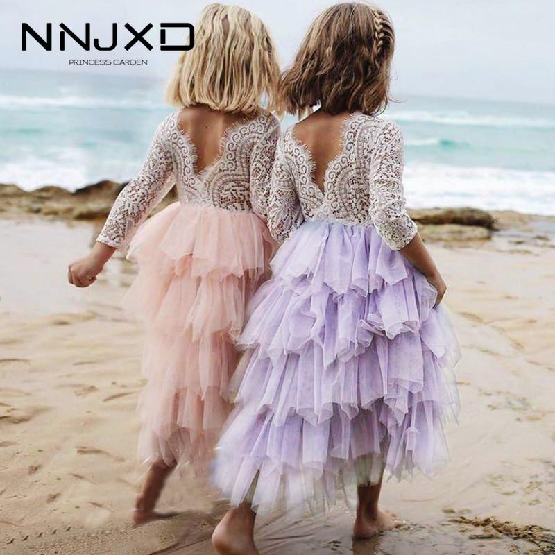 Robe d'été en dentelle pour filles | Blanc, dos nu, tenue Tutu irrégulière, pour enfants de 2-8 ans, rose, 2019