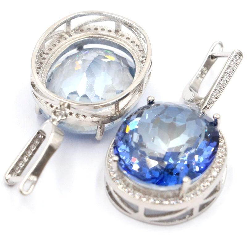 Big 17.5g Gemstone 22x18mm Fire Violet Mystic Topaz White CZ Gift Silver Earrings 40x20mm