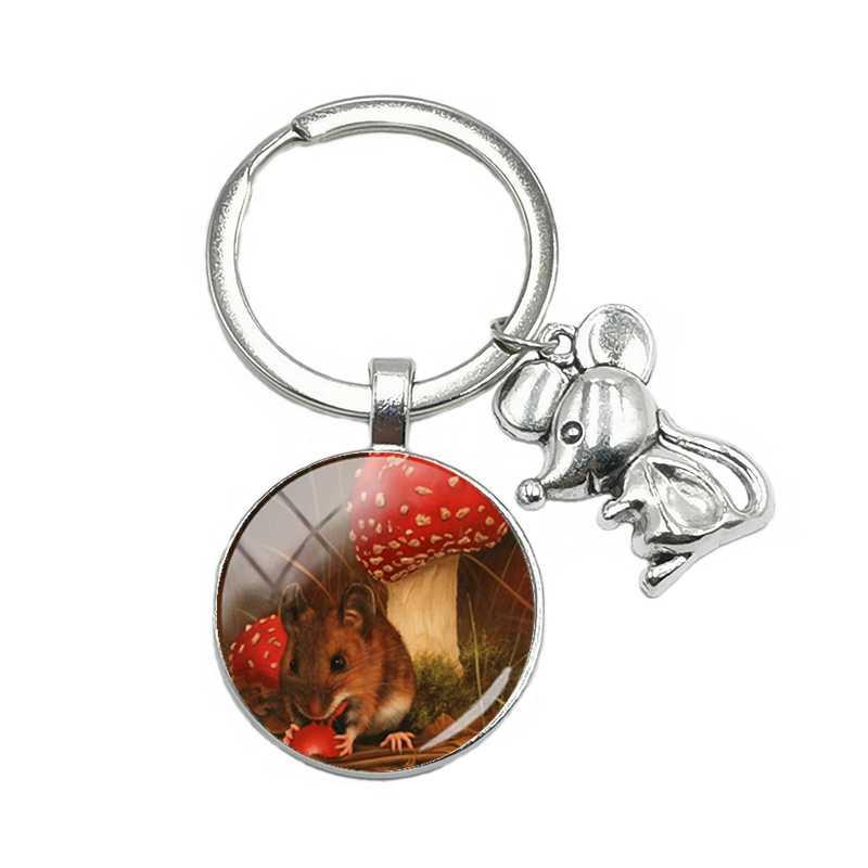 חם! 1 2020 חדש שנה מתנה! ילדים חדשים עכבר Keychain חמוד Cartoon עכבר תליון מפתח טבעת זכוכית קמור Keychain תכשיטי מתנה