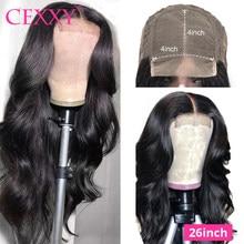 Perruque Lace Closure Wig naturelle malaisienne, cheveux Remy, Body Wave, Long 30 pouces, 4x4, 180% de densité, pour femmes africaines