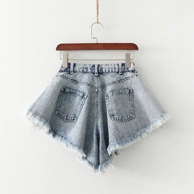 Denim Shorts Summer New Loose Wide Leg Denim Shorts Ripped Tasseled Retro Frayed Oversized Flared Culottes Fashion Streetwear 2