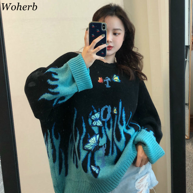 Woherb Autumn Winter Harajuku Flame Knit Sweater Butterfly Embroidery Womens Pullover Casual Loose Sweater Women Man Streetwear