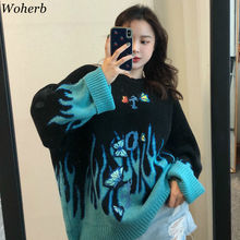 Woherb Autumn Winter Harajuku Flame Knit Sweater Butterfly Embroidery Womens Pul