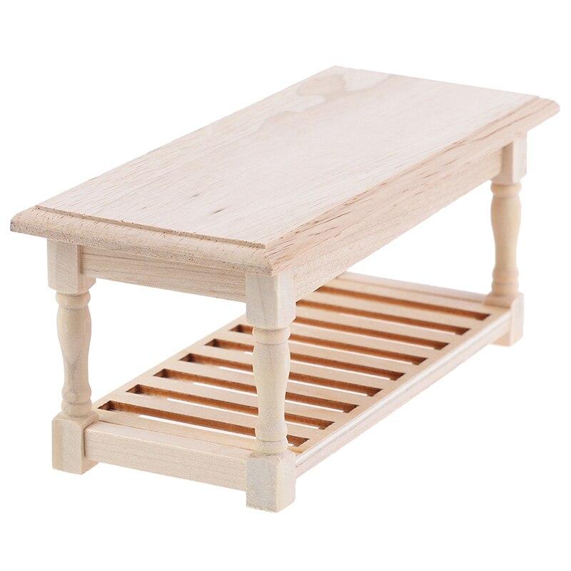 1:12 Mini Dollhouse Furniture Miniature Wooden Tea Table Bedside Table Cabinet Mini Living Room Decor Doll House Accessories