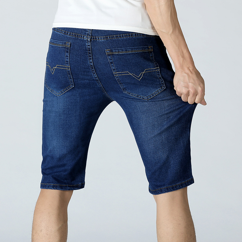 Large Size Men'S Wear Straight-Cut MEN'S Jeans Shorts Men's Summer Shorts Bermuda Shorts Straight-Leg Denim Shorts